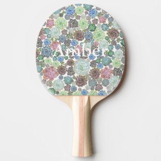 Succulents ping pong paddle