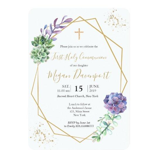 Succulents Purple Communion Invitation Zazzle Com