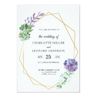 Succulents purple wedding invitation gold elegant