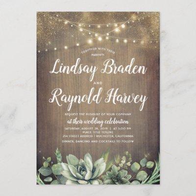 Succulents   Rustic Greenery Country Barn Wedding Invitation
