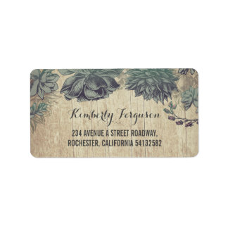Succulents Rustic Vintage Wedding Label