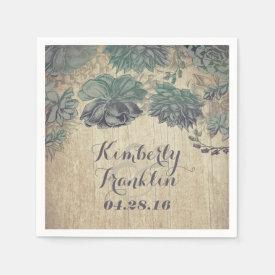succulents rustic wedding paper napkin