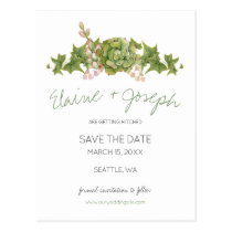 Succulents Rustic Wedding save the date Postcard