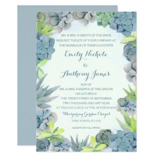 Succulents Smokey Blue Wedding Watercolor Card