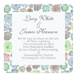 Succulents square wedding invitation