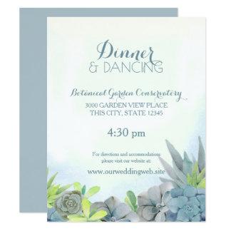 Succulents Steel Blue Wedding Watercolor Card
