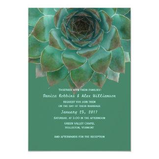 Succulents Teal Green Custom Wedding Invitations