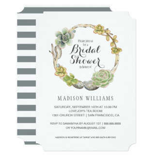 Succulents, Twigs and Stones | Bridal Shower Card
