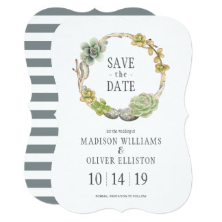 Succulents, Twigs and Stones | Save the Date Card
