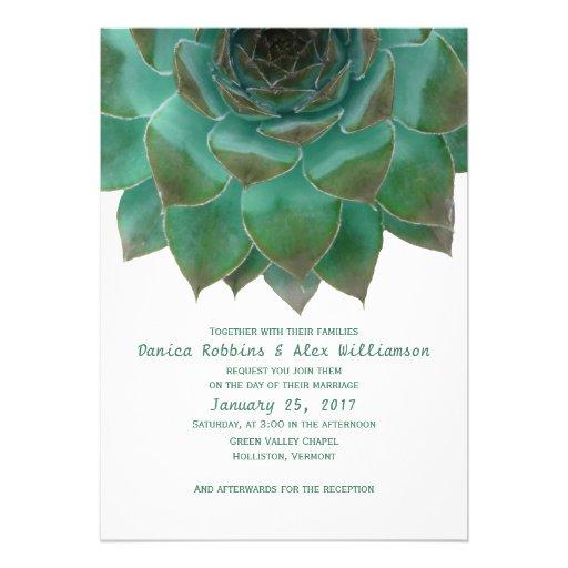 Succulents verdes y blancos que casan invitaciones comunicado