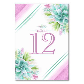 Succulents watercolor art table numbers