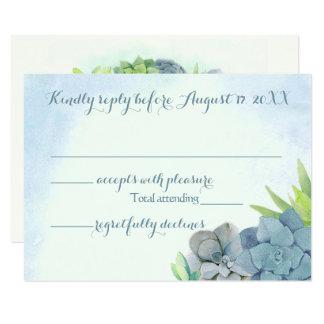 Succulents Wedding Blue Watercolor RSVP Card