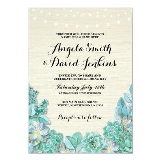 Succulents Wedding Invitations Mint Rustic Lights
