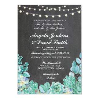 Succulents Wedding Rustic Chalk Lights Teal Invite