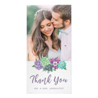 Succulents Wedding Thank You Card | Lavender