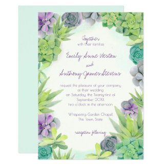 Succulents Wedding Watercolor Card