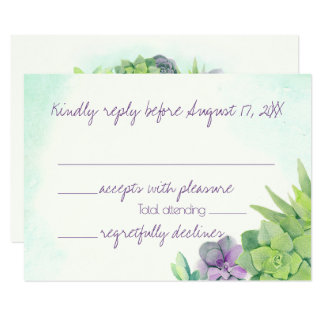 Succulents Wedding Watercolor RSVP Card