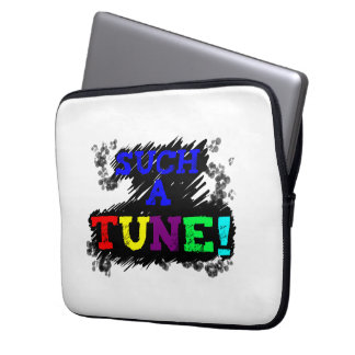 Such a tune colorful text on sketchy black design laptop sleeve