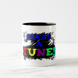 Such a tune colorful text on sketchy black on mug
