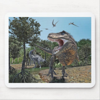Suchomimus and Tyrannosaurus Rex Confrontation Mouse Pad