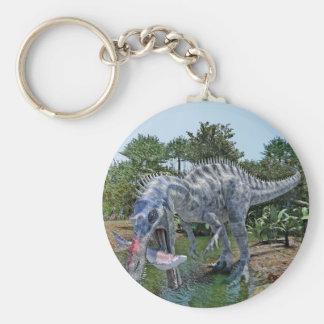 Suchomimus Dinosaur Eating a Shark in a Swamp Keychain
