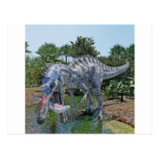 Suchomimus Dinosaur Eating a Shark in a Swamp Postcard