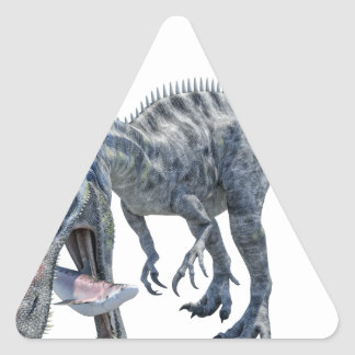 Suchomimus Dinosaur Eating a Shark Triangle Sticker