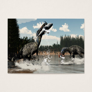 Suchomimus dinosaurs fishing fish and shark business card