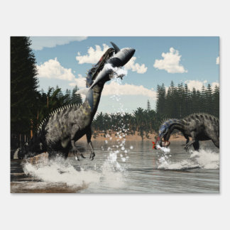 Suchomimus dinosaurs fishing fish and shark lawn sign