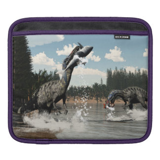 Suchomimus dinosaurs fishing fish and shark sleeve for iPads