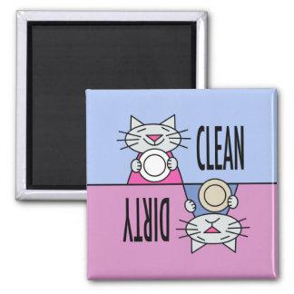 Sucio limpio del lavaplatos del gatito imanes