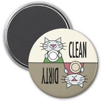 Sucio limpio del lavaplatos del gatito imán para frigorifico