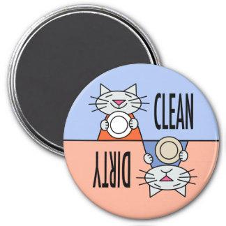 Sucio limpio del lavaplatos del gatito iman de nevera