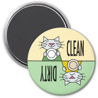 Sucio limpio del lavaplatos del gatito imanes de nevera