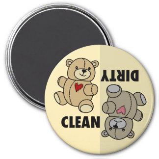 Sucio limpio del lavaplatos del oso de peluche iman de nevera