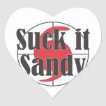 Suck it Sandy Hurricane Design Heart Sticker