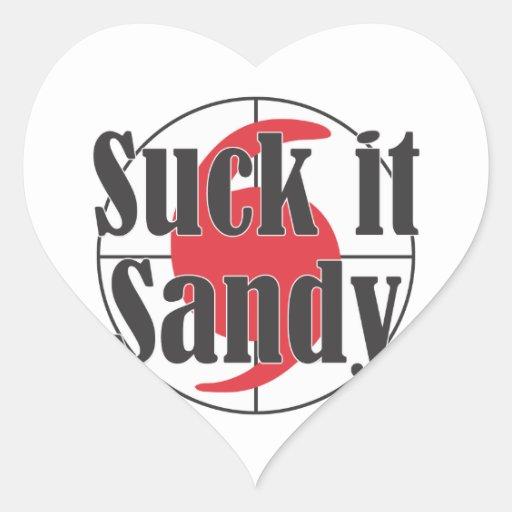 Suck it Sandy Hurricane Design Heart Sticker