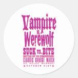 Suck vs Bite Round Stickers