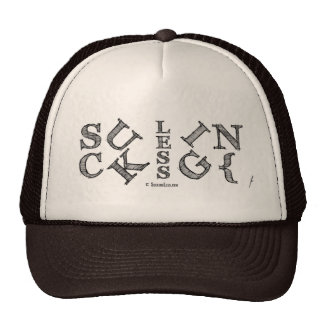 SUCKING LESS Block Anagram Trucker Hat