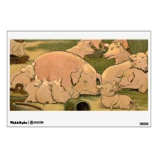 Suckling Pig and Mother on the Farm Wall Decal
