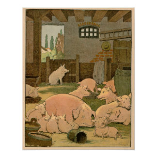 Suckling Pigs and Mother on the Farm Print