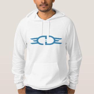 Sudadera con capucha azul del logotipo del BORDE