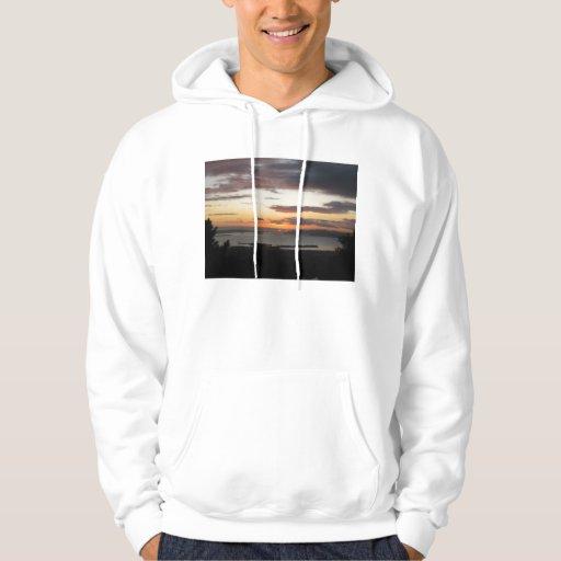 Sudadera con capucha con puesta del sol nublada de