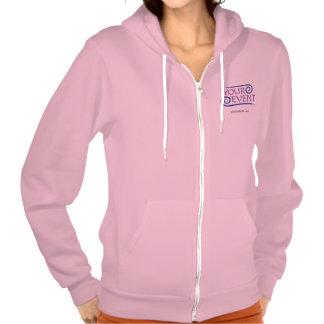 Sudadera con capucha rosada de la cremallera de