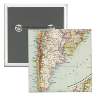 Sudamerika sudliches Blatt - South America Map 2 Inch Square Button