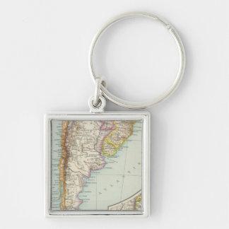 Sudamerika sudliches Blatt - South America Map Silver-Colored Square Keychain