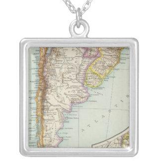 Sudamerika sudliches Blatt - South America Map Square Pendant Necklace