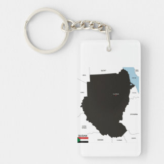 sudan country political map flag keychain