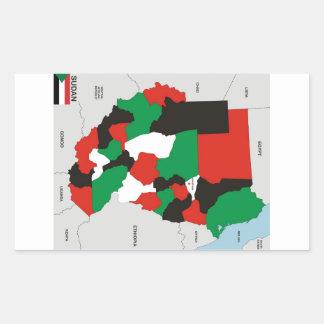 sudan country political map flag rectangular sticker
