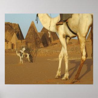 Sudán, del norte (Nubia), pirámides de Meroe con Poster